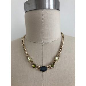 Gold Necklace with Blue and Green Stones